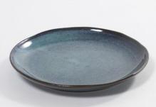 Dessertteller blaugrün D 22 cm H 3 cm glänzend Terracottakeramik
