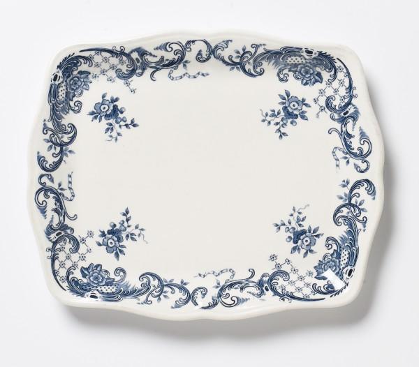 Butterschale kleiner Teller Serie Valeria weiß blau L 19,5 B 16 cm