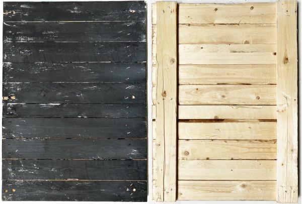 L 70 cm x B 50 cm kleiner Untergrund, Holz 1 Seite schwarz used look, 2. Seite natur