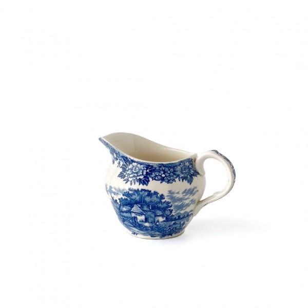 kleines Milchkännchen, Porzellan, weiß mit blauen Häusern / Blumen, English Village