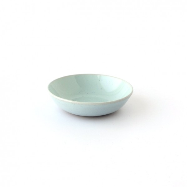 kleine Schale Dipschale ø 9 cm hellblau glänzend, dunkelblaue Minispränkel