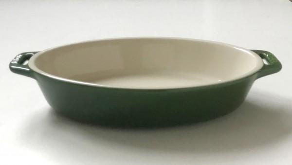 Auflaufform Keramik, basilikumgrün grün, glänzend oval L mit Griff 28