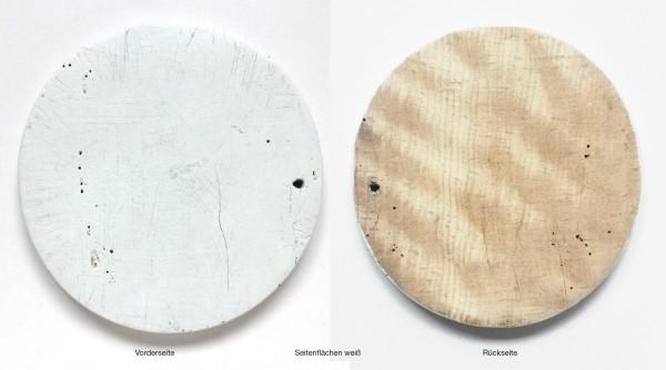 Schneidebrett LxBxH 28 x 14,7 x 1,7 cm, gerissene Farbe weiß angestrichen rund