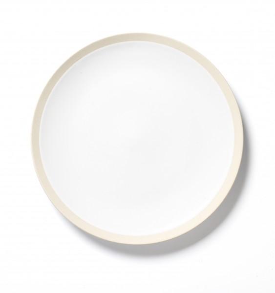 Essteller ø ca 25,7 cm weiß mit beigem steingut Rand