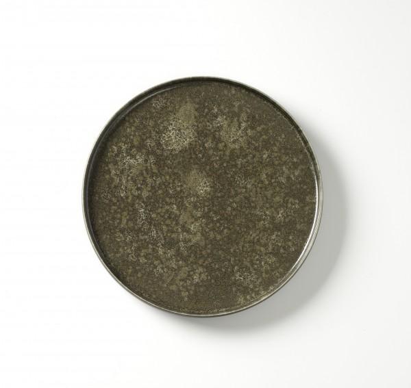 Teller ø 26,5 cm H 2,5 cm grün braun geflecktes Dekor