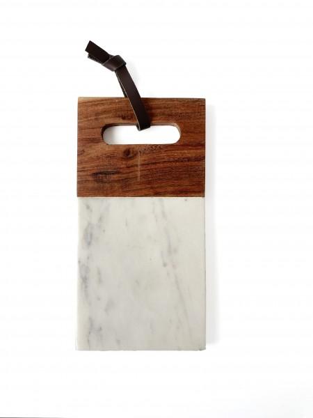 Schneidebrett L 25 x B 12,5 cm, Holz + weißer Mamor