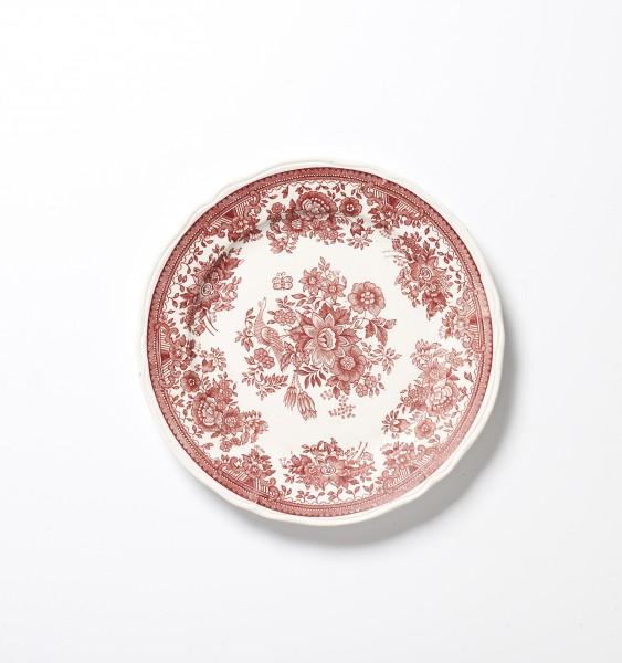 Teller ø 20 cm, MATT unglasiert rot weiß Blumenmuster Fasan antik Frühstücksteller