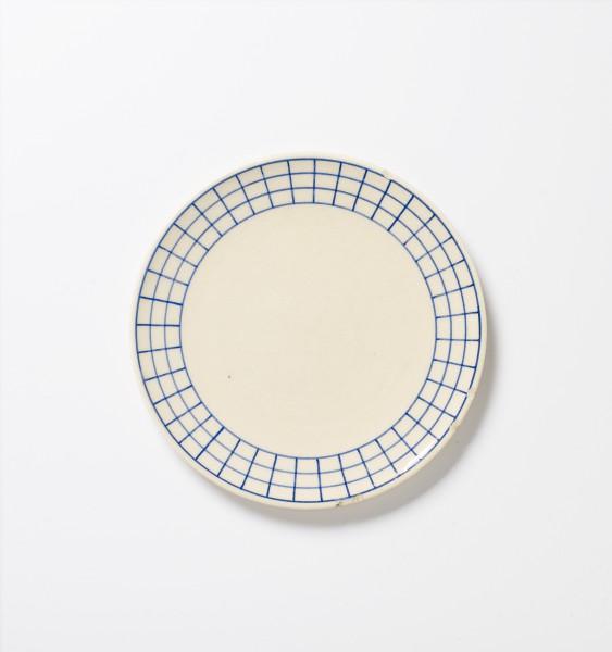 Teller, ø 20cm, beige, weiß, blaues Muster, glänzend vintage