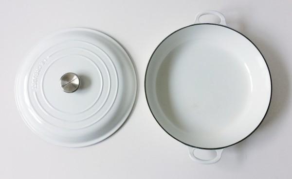 Pfanne ø ca. 30 cm Gourmettopf, mit Deckel, Gusseisen, weiß limited edition