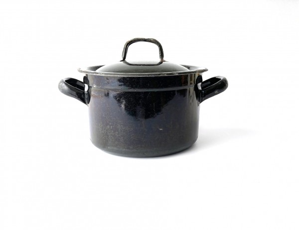 Topf mit Deckel ø 18,5 cm schwarz, Innen blau used vintage