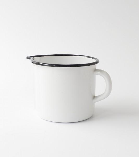 Becher mit Ausguß weiße Emaille, schwarzer Rand