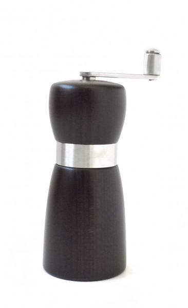Pfeffermühle mit Kurbel, duneklbraun mit Metallband H 14 cm