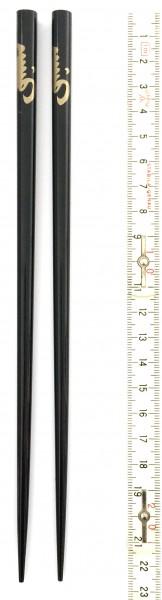 Stäbchen L 22,5 cm schwarz hochglänzend, goldenes Schriftzeichen, 1 Paar