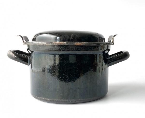 Topf mit Deckel ø 18,5 cm schwarz used vintage