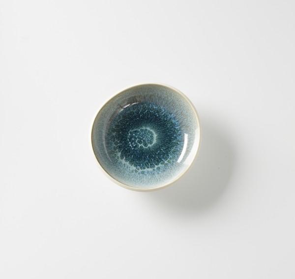 Teller tief ø ca. 17 cm, Bowl, Steinzeug innen glasiert, H ca. 4,5 cm creme aquamarine