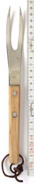 Tranchiergabel L 24 cm Edelstahl mit Holzgriff 2 Nieten, vintage (OHNE Messer separat Nr.11172)
