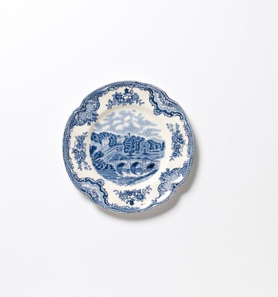 Teller klein ø 15,5 cm, blau weiß Blumenmuster, antik vintage