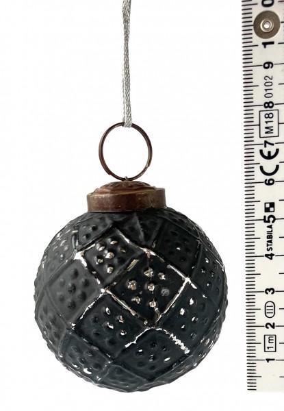 Weihnachtskugel ø 5,5 cm schwarz mit silbrig used look Muster