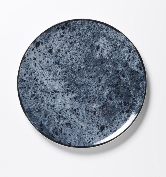 großer Teller Platte Essteller blaues Stonemuster vollflächig ø 26 cm