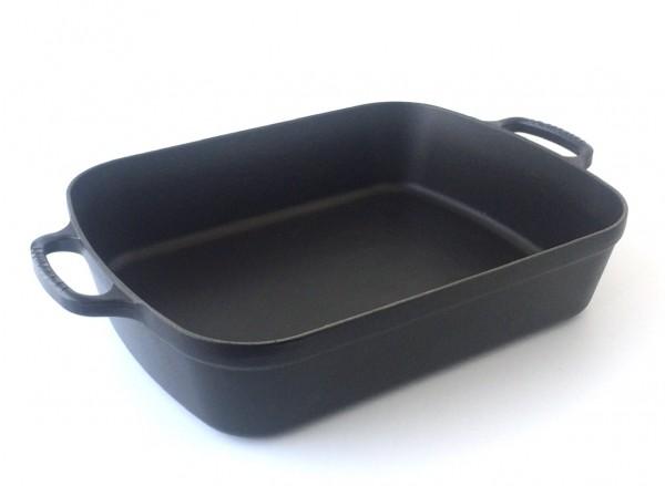 Auflaufform, Bratreine, Gusseisen, schwarz, ca. 37 x 23 cm