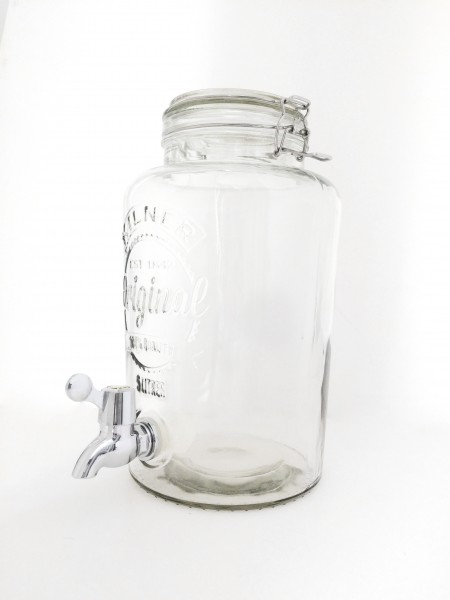 Wasserspender Getränkespender Glas mit Deckel 5L
