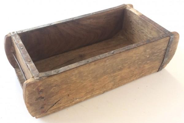 Holzkiste Ziegelform L 31 cm B 15 cm H 9,5 cm, 1 Fach, Metallbeschlag vintage used
