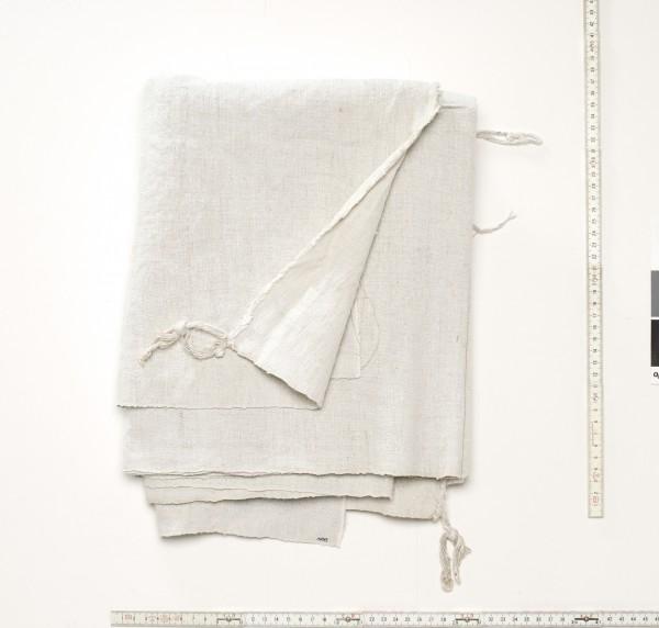 Stoff grobes Leinen beige, used, lange Kante ausgefranst, L 140 cm x B 118 cm