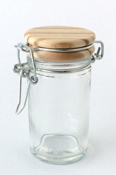 kleines Vorratsglas Bügelglas Deckel Holz H 9 cm ø 4,5 cm