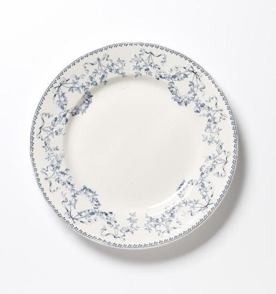 Teller ø 25 cm, blau weiß Blumenmuster, antik, 1 Beschädigung am Rand