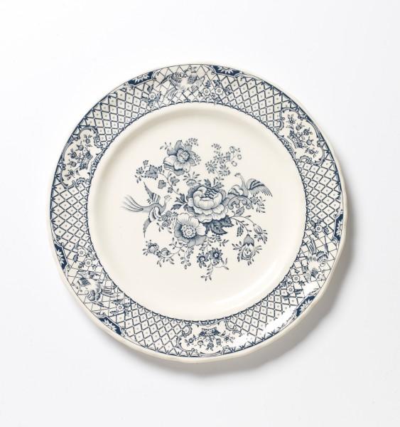 Teller ø 25 cm, blau weiß Blumenmuster, antik vintage