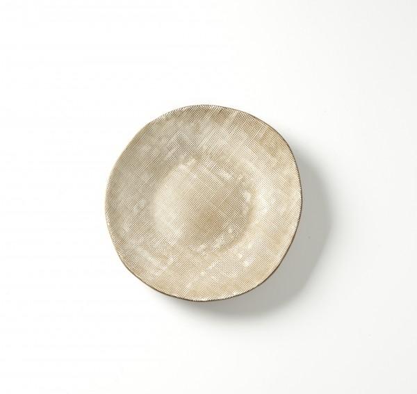 Teller ø 21 cm H 2,5 cm beige braun Webmuster