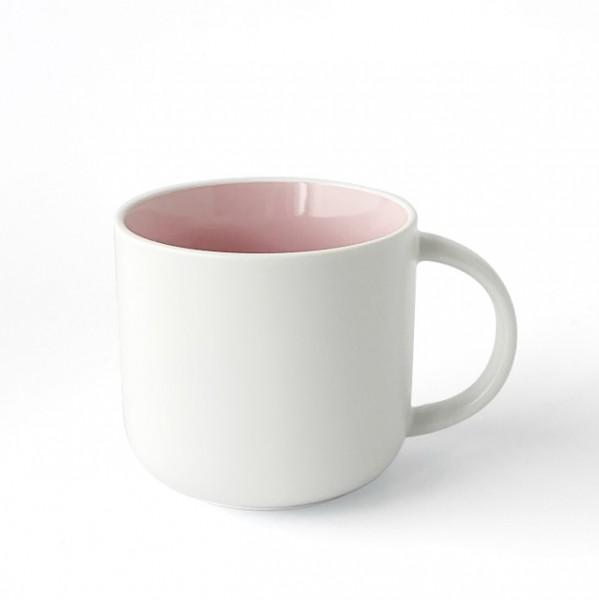 Becher, Porzellan, Innen rosa, Außen weiß, matt