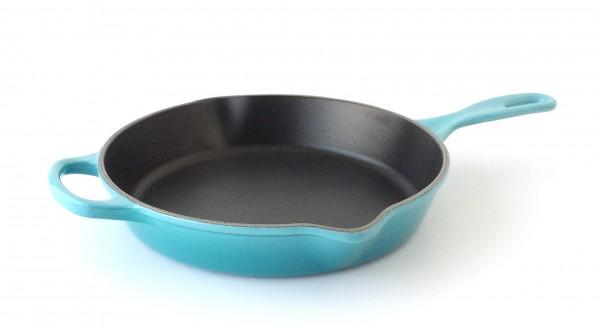 Pfanne ø ca. 26 cm Servierpfanne, Gusseisen, türkis karibik blau