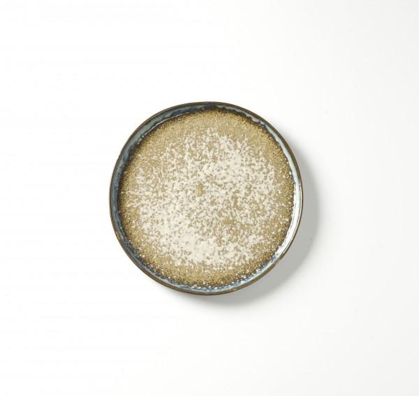 Teller ø 21 cm H 1,5 cm Oberfläche weiß gesprenkelter beiger Untergrund Rand blau