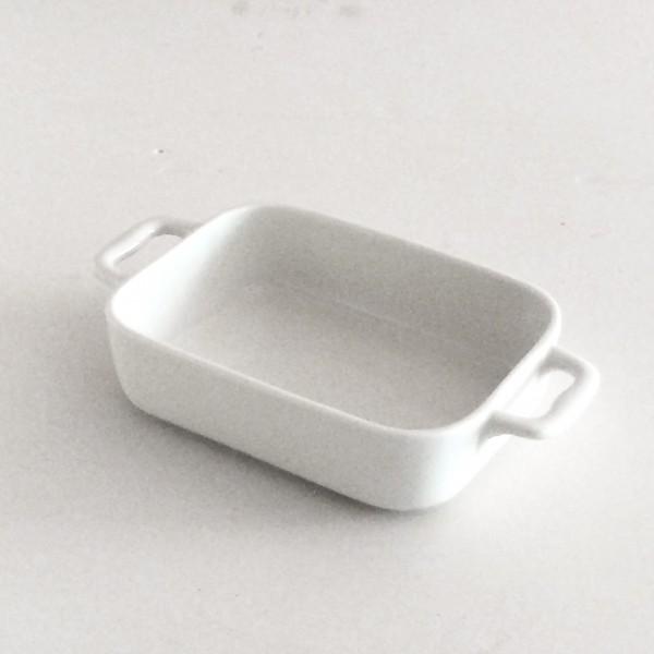 kleine Auflaufform mit 2 Griffen LxBxH 22,5 x 12,7 x 5 cm, weiß Porzellan rechteckig