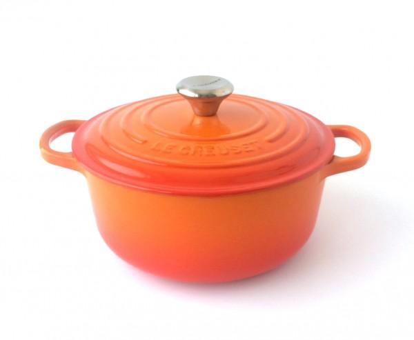 Topf Bräter Gusseisen, orange ofenrot außen, beige innen, ø 20 cm