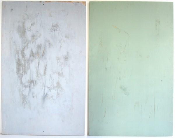 L 120 cm x B 75 cm Untergrund, Holz used, 1 Seite hellgrau, 1 Seite grün