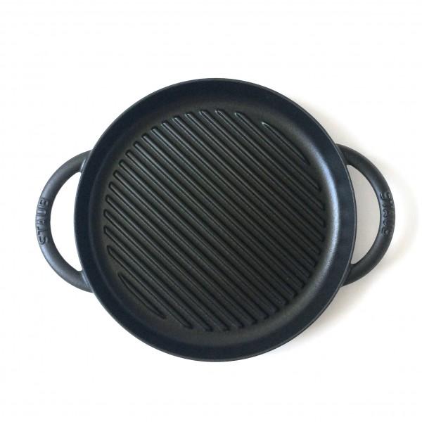 Grillpfanne ø 26 cm rund Gusseisen, schwarz, semi matt