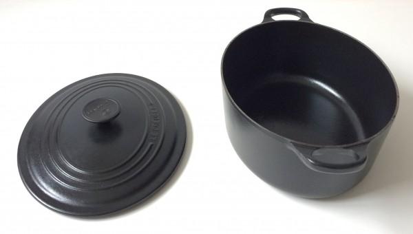 Bräter, Topf oval, Gusseisen, schwarz, ø ca. 29 cm