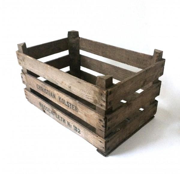 Holzkiste, Apfelkiste, braun, gebraucht, L 55cm x B 34,5cm x H 32cm