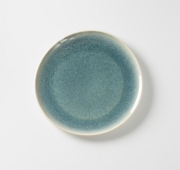 Teller flach ø 27,5 cm blau aquamarine, Außen creme unglasiert Steingut