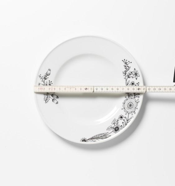 Frühstücksteller weiß mit Blumendekor ø 21 cm