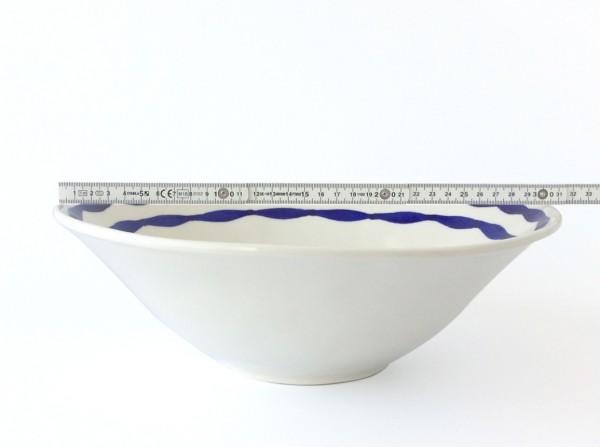große Schale ø 31 cm H 10 cm creme mit blau schwarzem Wellen Innen oberer Rand glänzend rund