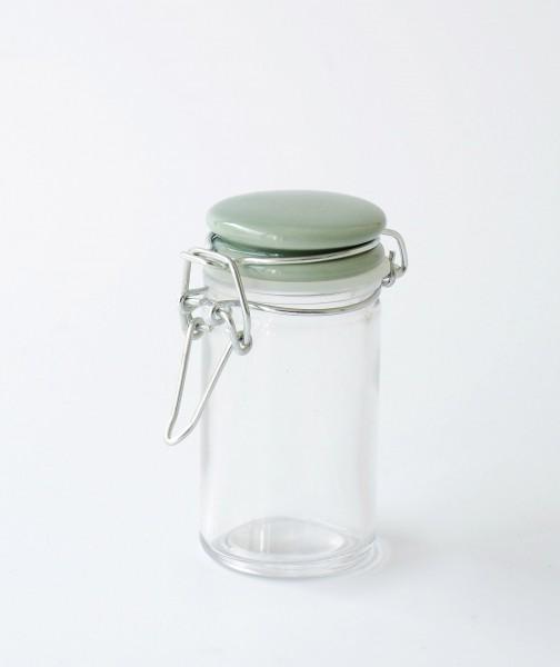 kleines Vorratsglas Bügelglas Deckel Porzellan türkis grün H 9 cm ø 4,5 cm