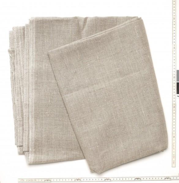 Stoff Tischdecke Leinen L 190 x B 140 cm braun dunkel beige, keine Fransen, ungewaschen, sehr groß