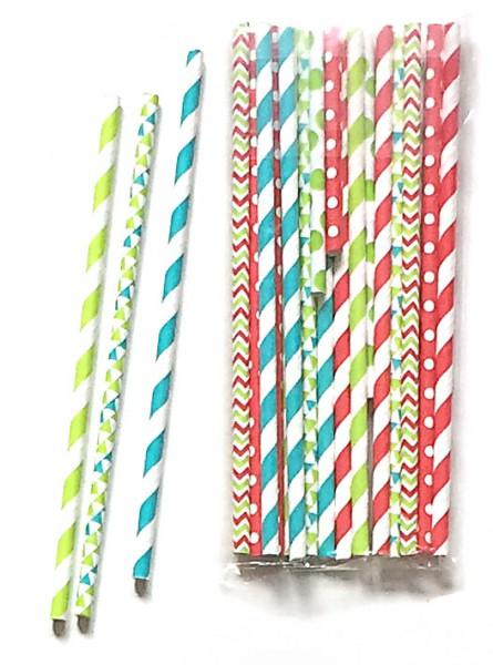 Strohhalme Papier bunte Punkte, Streifen, Rauten, Set mit 20 Stück