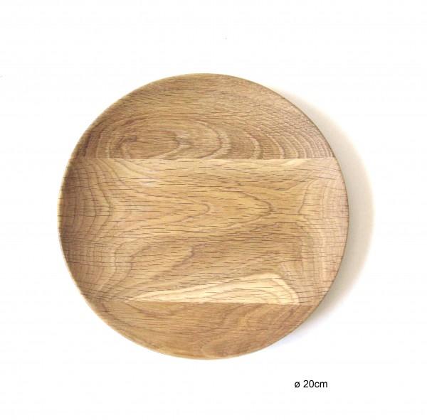 Teller ø 20 cm Holz Eiche Vollholz unbehandelt