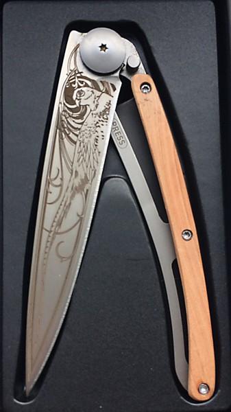 Messer Steakmesser Klappmesser schwarz Farsan Gravur auf Klinge