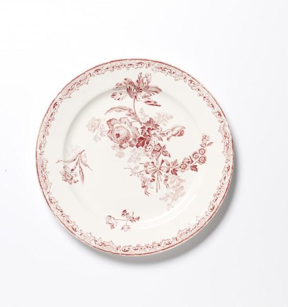 Teller ø 23 cm, rot weiß Blumenmuster, antik Speiseteller