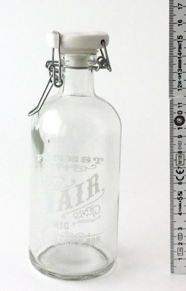 Bügelflasche H 15,5 cm Glas klein mit Schriftaufdruck Hair Porzellandeckel weiß